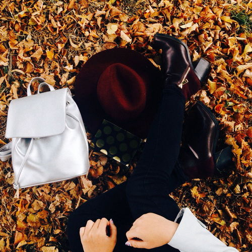The Culture Of The Holidays Autumn Autumn Collection Autumn Colors Autumn🍁🍁🍁 Leaf High Angle View Shoe Leaves Boot Fallen Outdoors Person Day Rubber Boot Obsolete