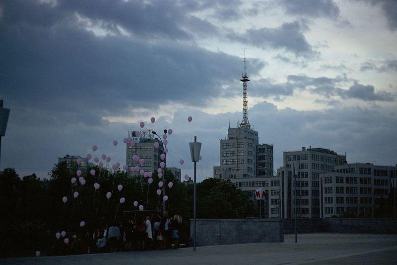 35mm 35mm Film Filmcamera Filmphotography Filmisnotdead Fujiklasse Fujifilm Agfa Vista200 Agfa Nofilter Sky Architecture Tower Built Structure City Kharkiv Baloons