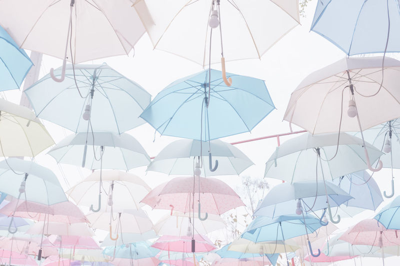 Backgrounds Day Full Frame Group Group Of Objects Hanging Low Angle View Multi Colored Nature No People Outdoors Parasol Protection Rain Security Shade Sky Sunlight Umbrella