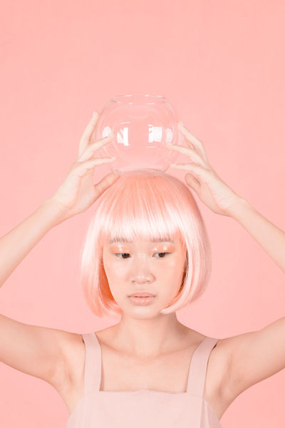 lab 4 Futuristic Portrait Of A Friend Pink Color Salmon Colored Fish Bowl Studio Shot Wig Makeup Make-up Fine Art Photography Colored Background Only Women Adults Only Pink Color One Woman Only One Person Front View Studio Shot Portrait Close-up Beautiful Woman Science Technology Love Yourself The Portraitist - 2018 EyeEm Awards The Creative - 2018 EyeEm Awards The Fashion Photographer - 2018 EyeEm Awards