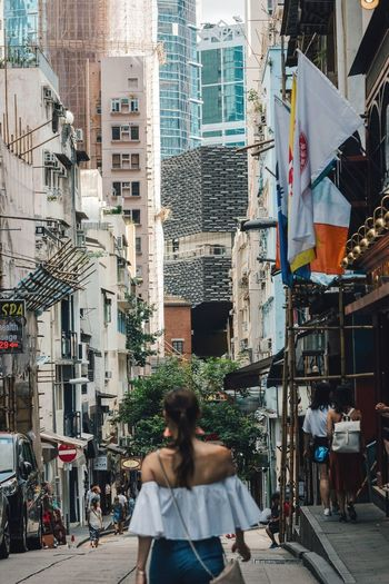 Urban street Building Exterior Architecture City Built Structure Street Outdoors Real People Cityscape People Adult HongKong Hong Kong Hong Kong Skyline Streetphotography Back Of A Woman Central Asian Culture Asian Girl Asian Beauty Girl Woman Portrait Of A Woman Beautiful Woman City Life Connected By Travel