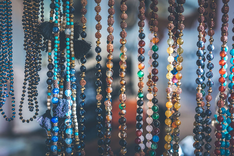 Close-up of bead necklace for sale at market