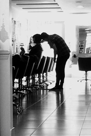 Hair cut Salon Stylist Chair mono Scissors Skill Shiny Surfaces Reflections Shadows