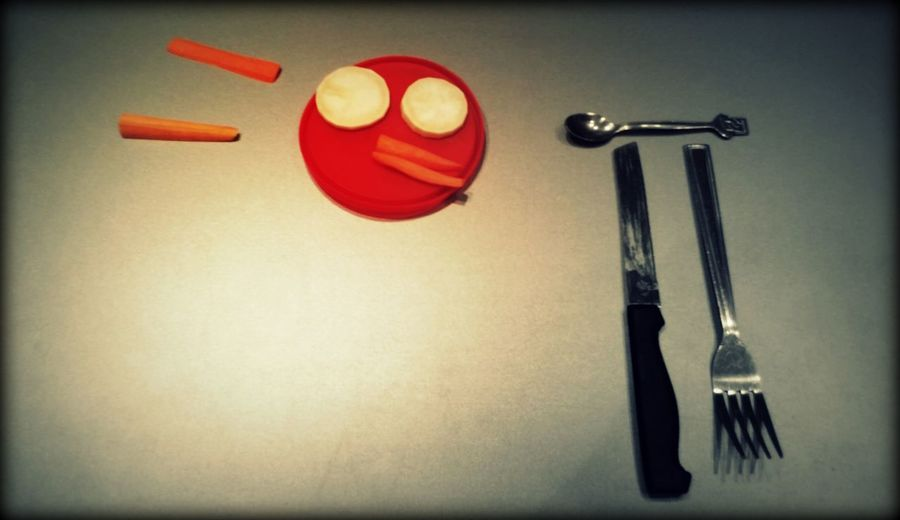 Angry Bird Angry Birds! Bad Habit Carrot Close-up Day Dirty Knife Don't Play With Food Fork Handmade Indoors  No People Playing With Food Radish Red Red Nutella Cup Tiny Spoon