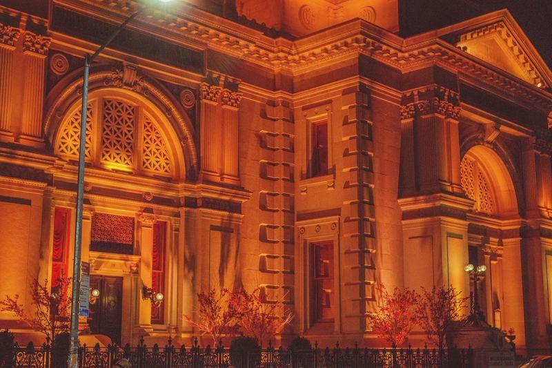 Illuminated building at night