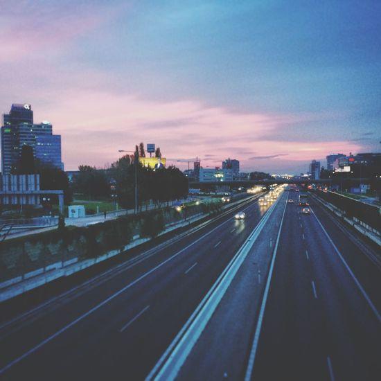 Sunset Pink Sky Aupark Highway Motorway View