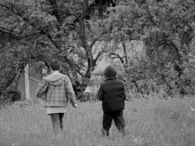 Black & White Children Family Friends Friendship. ♡   Kids Relaxing Beauty In Nature Blackandwhite Countryside Field Friendship Hillside Leisure Activity Nature Outdoors Real People Rear View Relax Village Walking