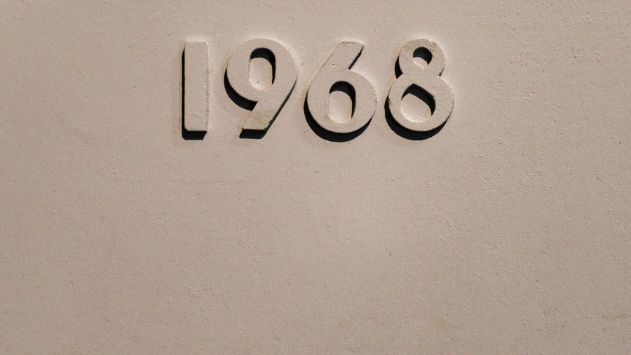 1968 Art And Craft Brown Capital Letter Close-up Number Sixtyeighth Text Wall Wall - Building Feature