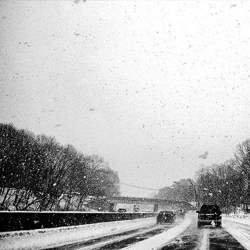 Birthday snow! ❄🚗❄ Roadtrip Gettingoutofthecity Snow Greyskies