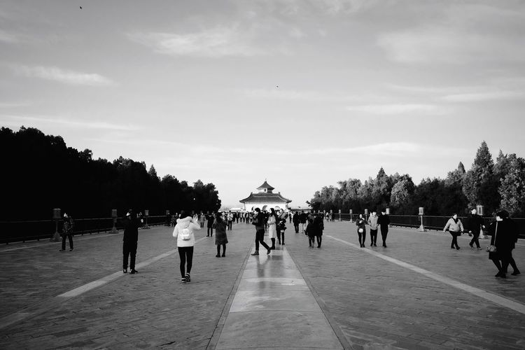 Large Group Of People People Tree Sky Adults Only Adult Day Beach Outdoors Only Men Leisure Activity Black And White Old Buildings Architecture Travel Light And Shadow FUJIFILM X-T10 Beijing, China Temple Of Heaven Park Old-fashioned Ancient Tourism History Travel Destinations