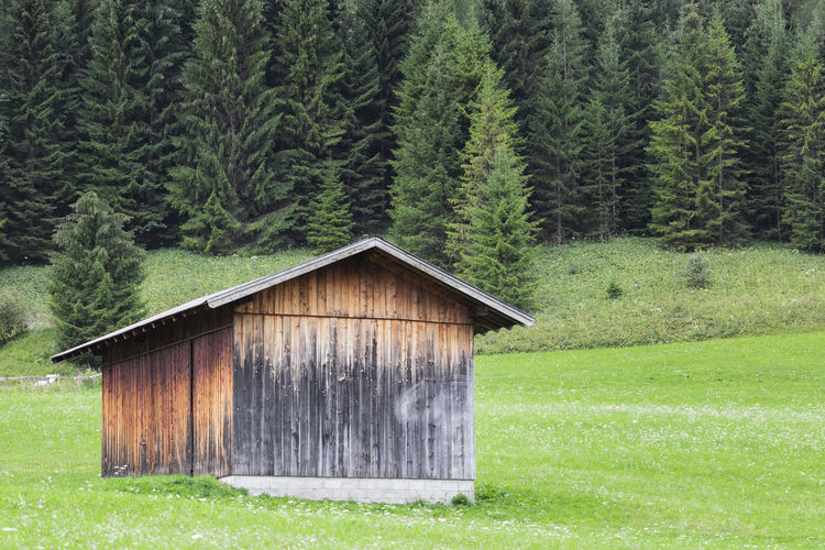 Wooden cabin located in a rural area of the bavarian alps