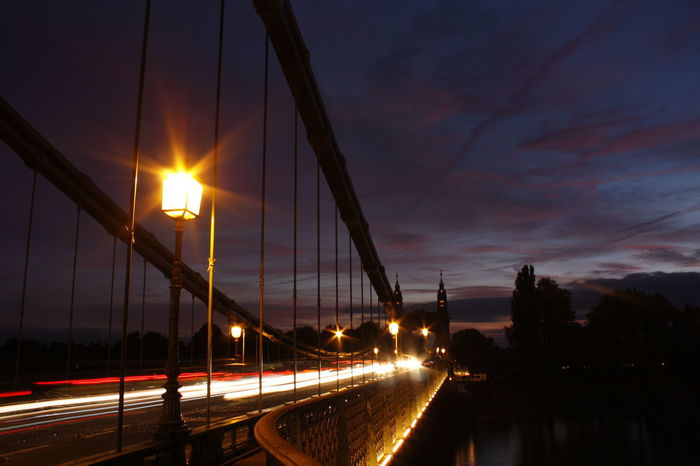 #Hammersmith Bridge #london #thamesriver Architecture Bridge - Man Made Structure City Connection Illuminated Motion Blur Motion Capture Night No People Outdoors Sky Sunset