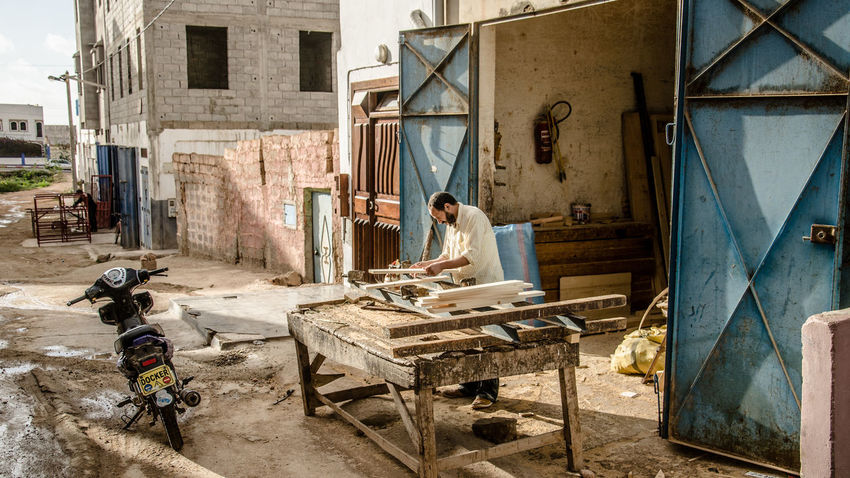 Marocco Mirleft Wood Craft Handcraft Streetphotography Street Woodshop Furnitures Roadtrip Traveling Outdoors Man Working EyeEm Best Shots Eye4photography  My Year My View The Street Photographer - 2017 EyeEm Awards