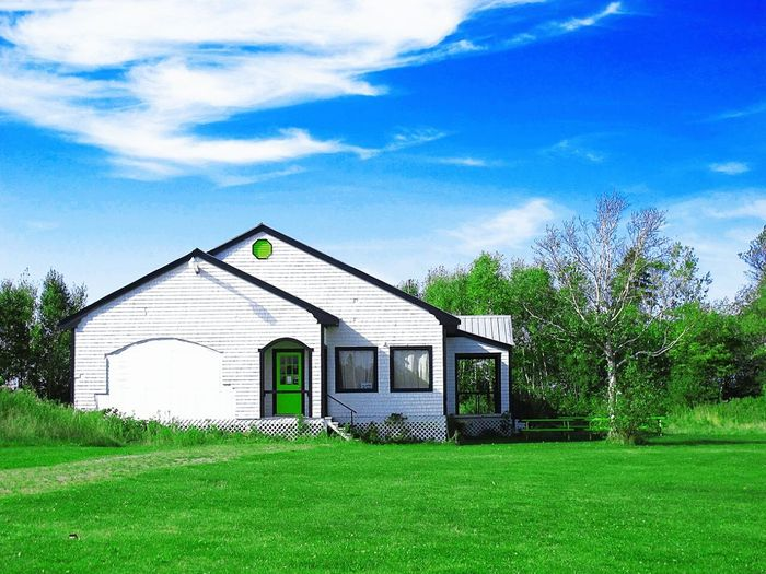 Rural Scene A Contry House A Cottage White Color Clouds And Sky Blue Sky Green Nature Pei Prince Edward Island Canada Travel Photography Rural Scenes Scenery Of The Country