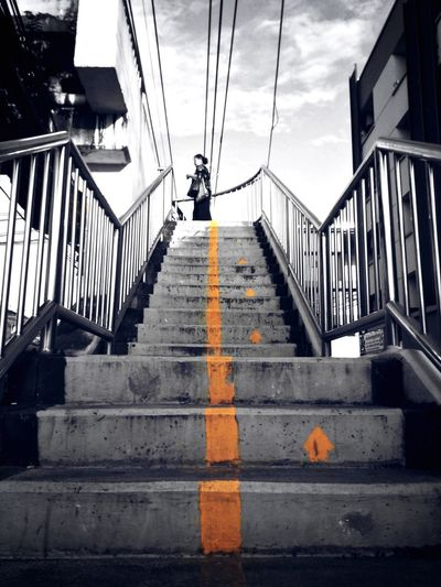 up right Bridge Construction Color Yellow Thailand Thai MoodyTones Sky Upstairs Asianwoman Woman