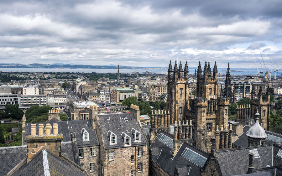 Edinburgh view taken from the rooftop of the Camera Obscura at Castlehill City Cityscape Cloud - Sky Sky Travel Destinations Day Roof Outdoors Edinburgh View Uk Scotland Castle Hill Europe Tourism Royal Mile Scottish Grey