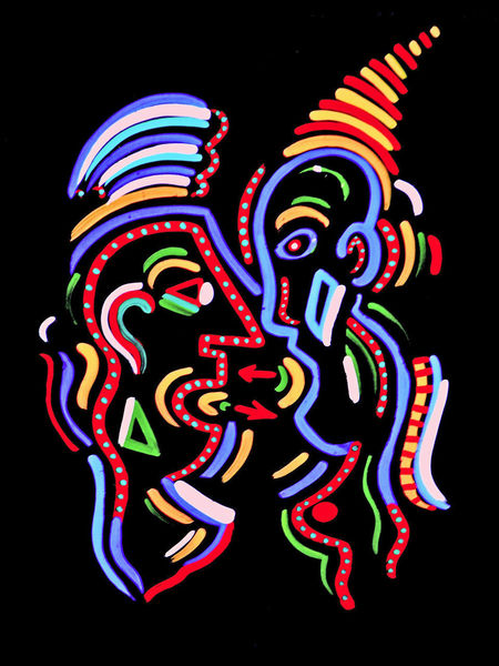 A line painting by me when I came back from Africa in 1980. Art By Me Black Background Colorful Multi Colored No People Variation