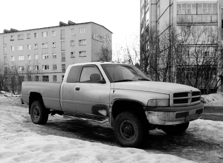 Pickup Truck isn't popular type of Car in Russia, and Dodge isn't famous brand, so you can see Rare Car on this Blackandwhite Monochrome photo! :-) Car Porn Pickuptruck Dodge Ram Pickup Truck