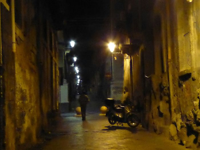 Night Illuminated Outdoors Road Streetphotography Lights In The Dark Solitary Figure Scooter Alleyway The way home