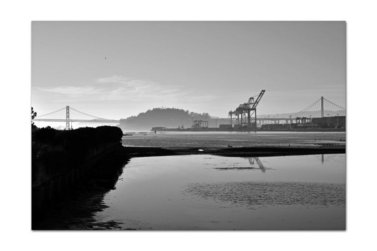 Shoreline Park At Middle Harbor 4 Estuary Low Tide Middle Harbor Port Of Oakland, Ca Maritime Gantry Cranes Port Containers Yerba Buena Island Bay Bridge Waterfront Reflected Glory Reflections In The Water Late Afternoon Silhouettes Mudflats Water Monochrome_Photography Monochrome Black & White Black And White Photography Black And White Black And White Collection  Landscape_Collection Landscape_photography Reflections ☀