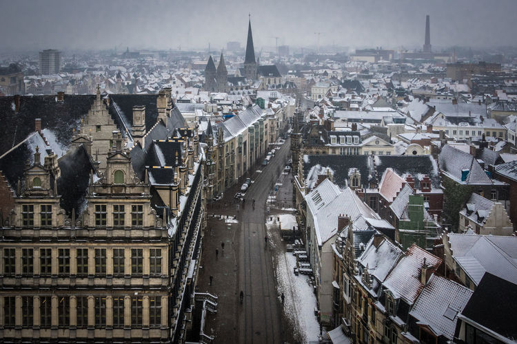 Ghent with snow Gent Ghent Belgium Belgique Belgium. Belgique. Belgie. Belgien. Etc. Snow Architecture Building Exterior Built Structure City Sky Day Outdoors Cityscape Building High Angle View Residential District Travel Destinations Place Of Worship City Life