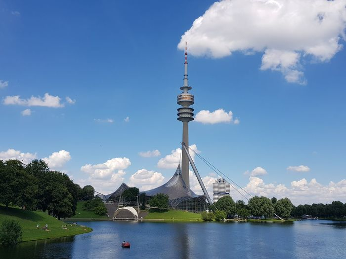 Olympiapark Olympiastadion München Bayern Cloudporn Blue Sky Tadaa Community Take A Walk Picoftheday Amazing View Deutschland Europe Olympic Park  Olympic Stadium Tree Politics And Government Sky Tower Tall - High Cityscape Historic