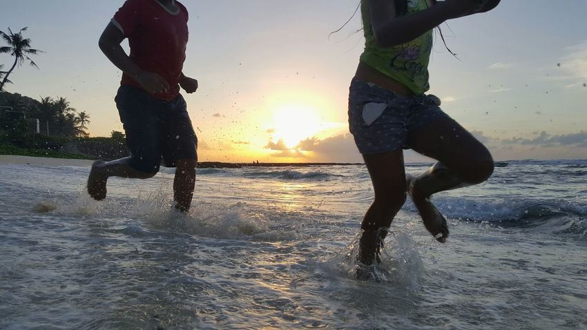 My Kids Beach Splashing Water Sea Sand Outdoors Shore Run At Play Happy Family