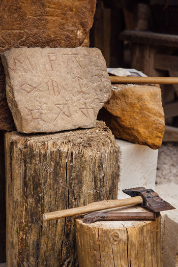 The Past Medieval Art Stonecutting Medieval Equipment Stone Material Stone Stone Work Stone Material Rune Symbol Stack Wood - Material Close-up Lumber Industry