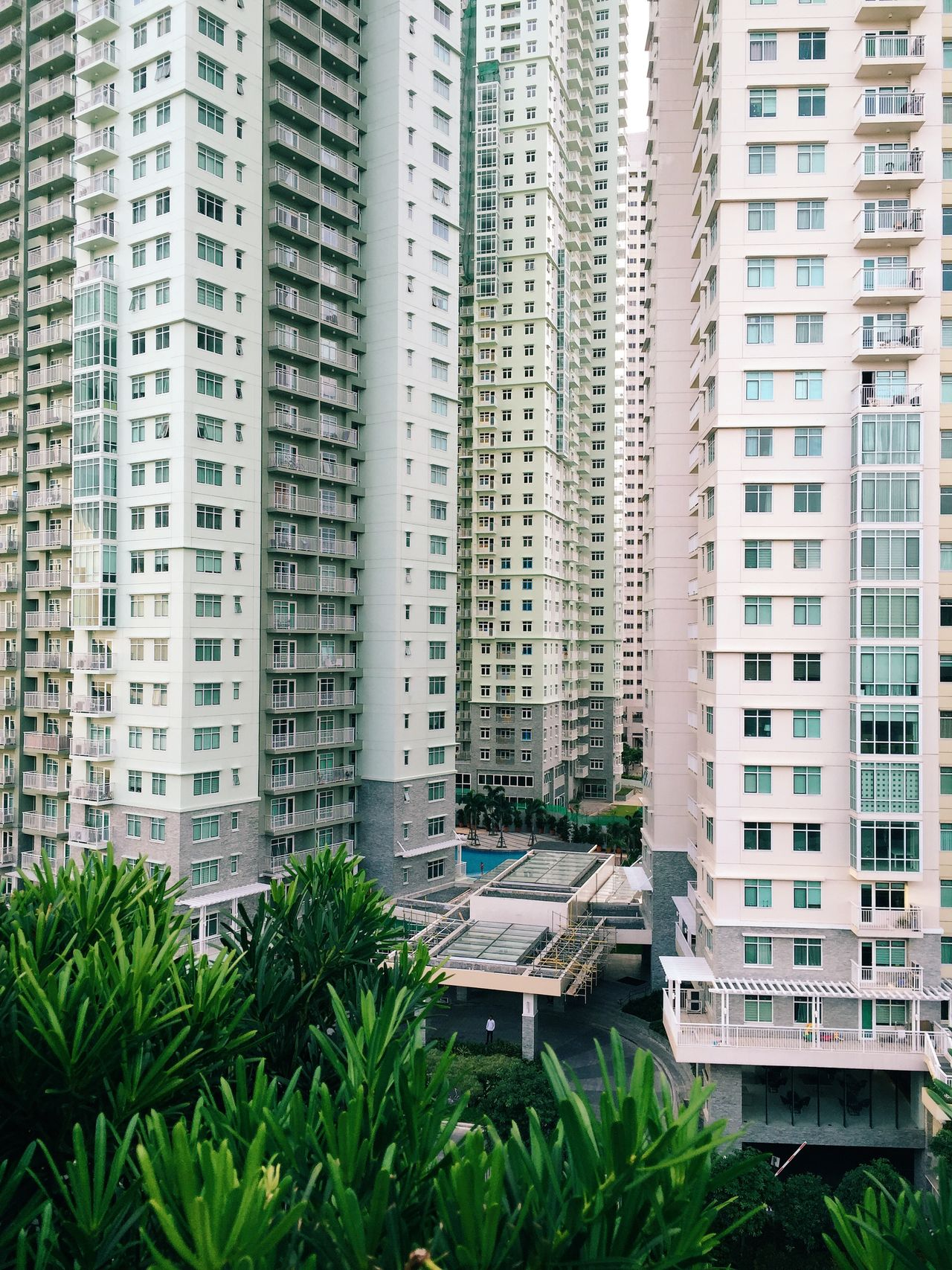Modern apartment buildings in city