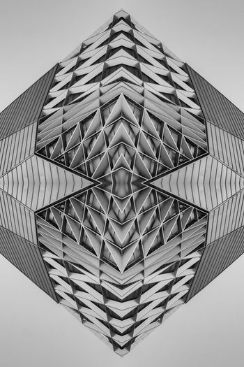 Architecture Clear Sky Modern Sky Repetition Kaleidoscope Symmetry Blackandwhite Monochrome Architectural Feature Creativity Art ArtWork Architecture And Art Black And White Angles And Lines Abstractart Architectural Detail
