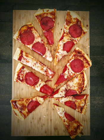 Home made pizza slices Pizza Time Food Food And Drink Home Made Indoors  Pizza Pizza🍕 Snack Table