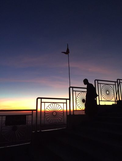 Silhouette Sky Men Monk  Sunset Nature Beauty In Nature Cloud - Sky Outdoors Religion Golden Rock