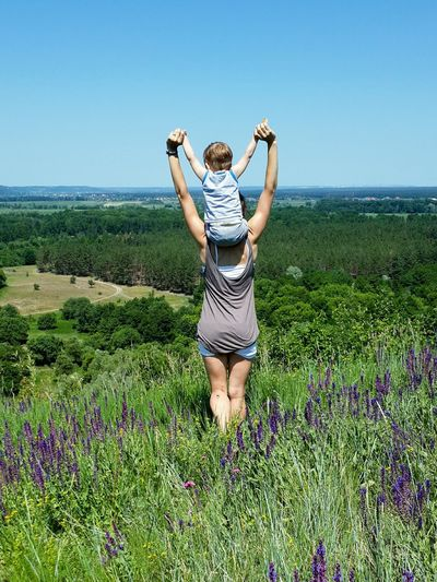 Family, mom&son, nature, beautiful, sky, sunshine, child, women, relax, travel