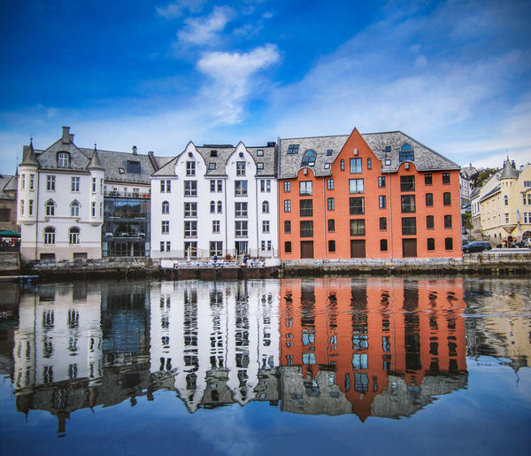 Architecture in the city of Ålesund in Norway Architecture Building Exterior Building Built Structure Water Reflection Apartment Outdoors House Waterfront Norway Blue Nature