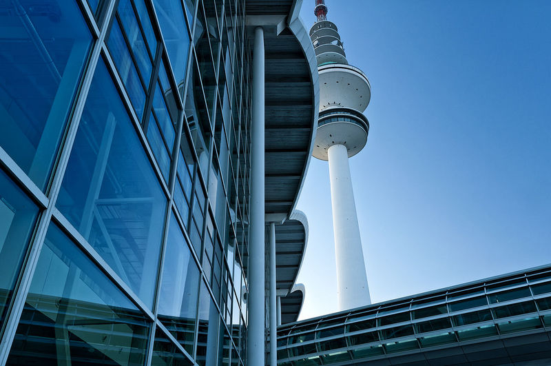 TV-Tower Architecture Blue Blue Sky City Cityscape Day Exhibition Halls Footbridge Hamburg Modern Architecture No People Outdoor TV Tower