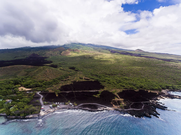 Aerial view of La Perouse Maui Hawaii Hawaii La Perouse Maui Aerial View Bay Beauty In Nature Blue Cloud - Sky Day Dronephotography High Angle View Landscape Mountain Nature Ocean Outdoors River Scenics Sea Sky Tranquil Scene Tranquility Travel Destinations Tree Water