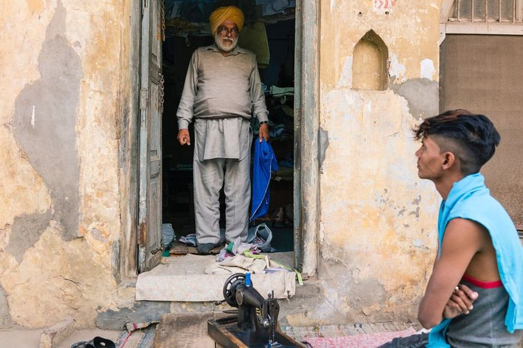 Master and Apprentice, Anandpur Sahib, India. Real People Street Photography Punjab India Travel Photography Street Tailor