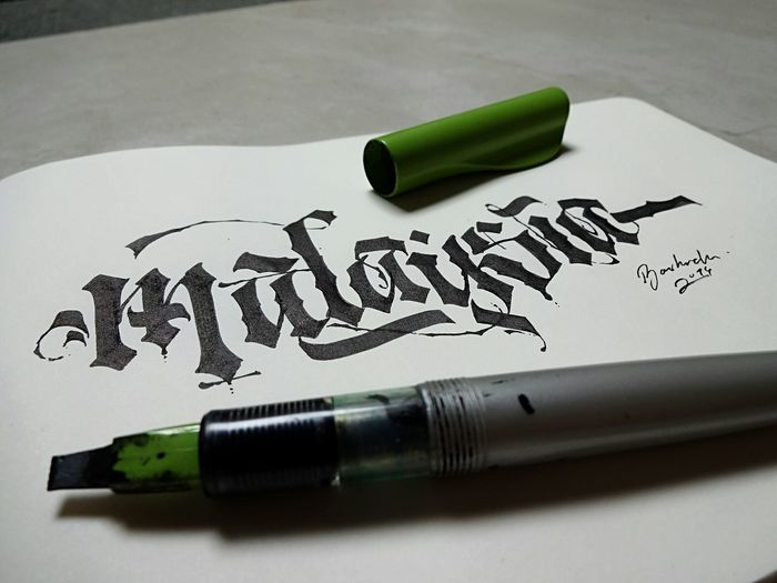 """""""Malaysia"""" Text Single Word Ink Handwriting  Paper No People Communication Fountain Pen Close-up Nib Day ArtWork INDONESIA Malaysia Typography Black & White Photoshoot Creativity Calligraphy Black Bashrah Photooftheday Country Peace"""