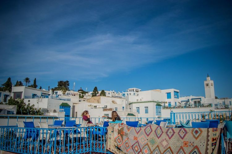 Sidi Bou Saif roofs Sidi Bou Said Tunis Tunisia Architecture Blue Building Exterior Built Structure City Cloud - Sky Day Leisure Activity Lifestyles Outdoors People Real People Sky Togetherness Tunisie Women