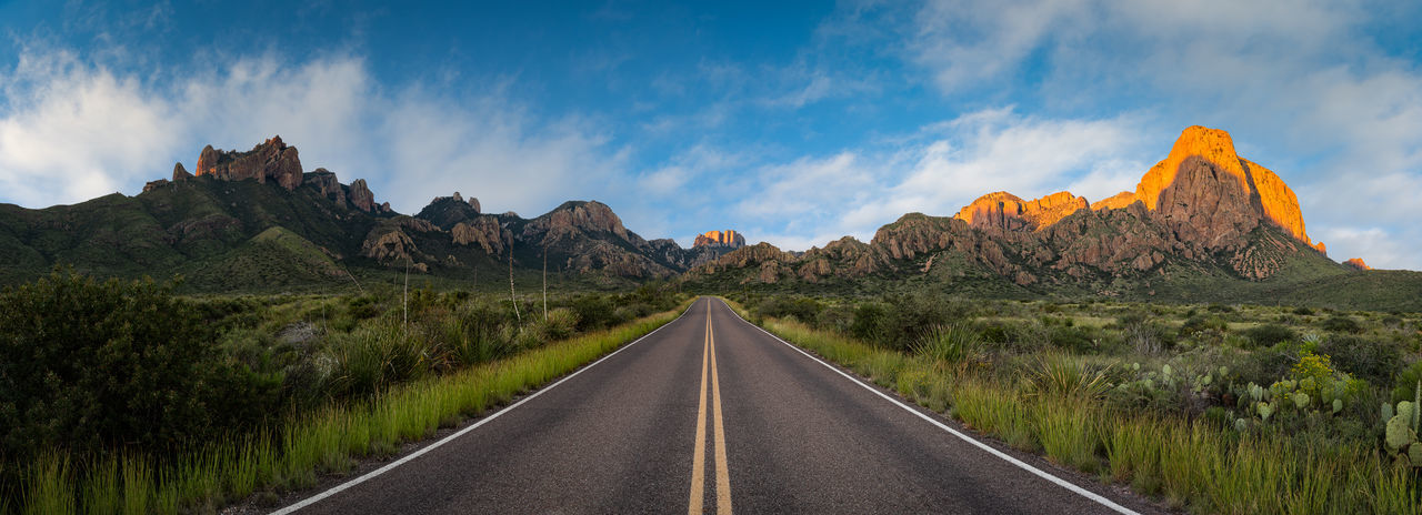 Panoramic view of road amidst mountains against sky in big bend national park - texas