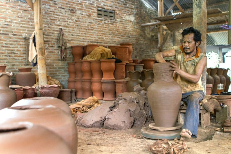 Clay jars maker... Mud Clay Craft Working Art And Craft People Work Jars  Jar Traditional Culture Traditional Art INDONESIA Working One Man Only Only Men Portrait