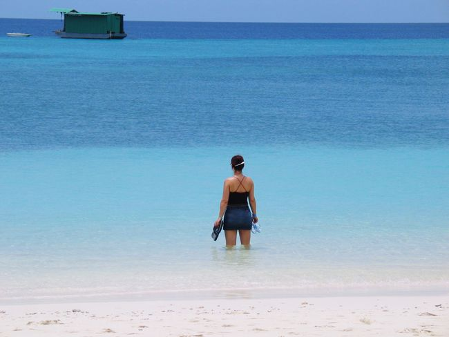 Indian Ocean Kuredu Maledives Beach Water Sea One Person Rear View Leisure Activity Beauty In Nature Day Vacations