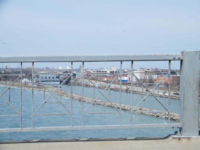 On the Peace Bridge Bridge Over The River Bridge Railing Bridge View Built Structure Clear Sky Harbor Horizon Over Water Transportation Water
