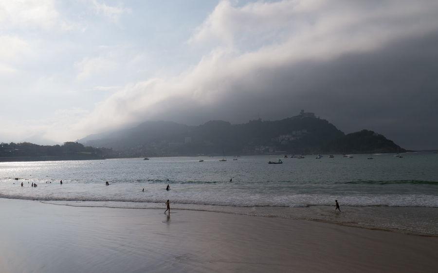 Beach Cloud - Sky Cloudy Coastline Igeldo La Concha Beach Mountain San Sebastian Sea
