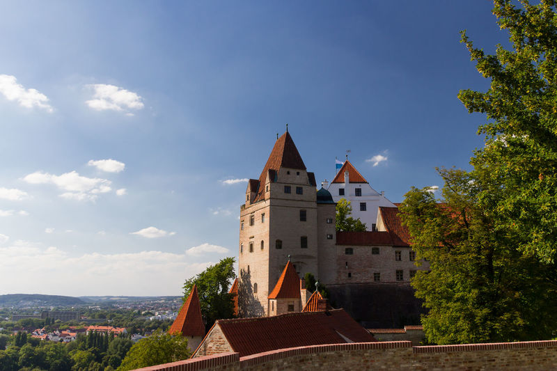 Low Angle View Of Trausnitz Castle Against Sky