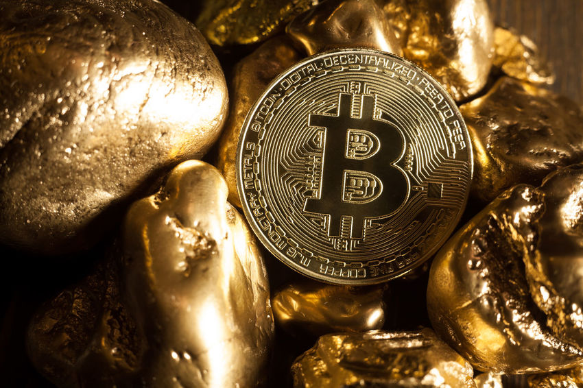 bitcoin and golden nuggets Golden Market Nuggets Shiny Virtual Bitcoin Close-up Coin Compared Cryptocurrency Digital Displayed E-business Economy Exchange Finance Financial Gold Investment Metal Symbol Technology Token Trade Wealth