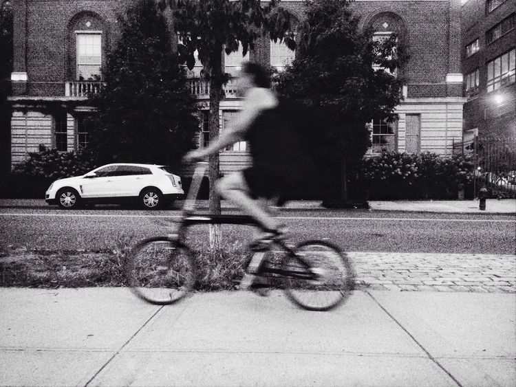 Just roll with it. Bicyclist Woman Black And White Street Photography Urban Photography