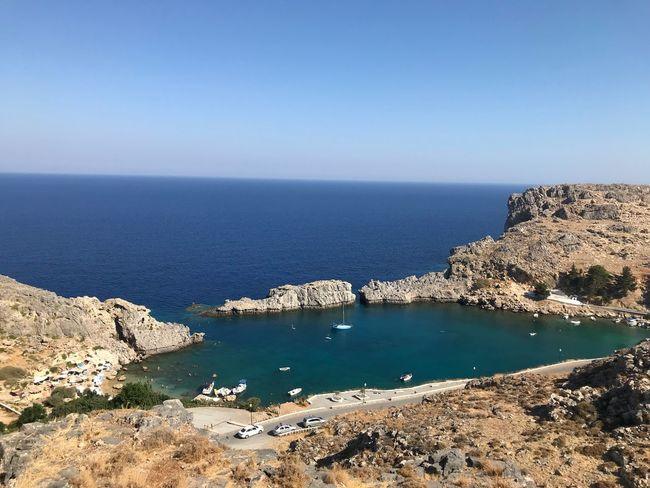 Greek Islands Greece Greece Water Sea Sky Beauty In Nature Scenics - Nature Land Horizon Over Water Tranquil Scene Nature Beach Clear Sky Tranquility Horizon Copy Space No People Outdoors Day Sunlight Blue Rock