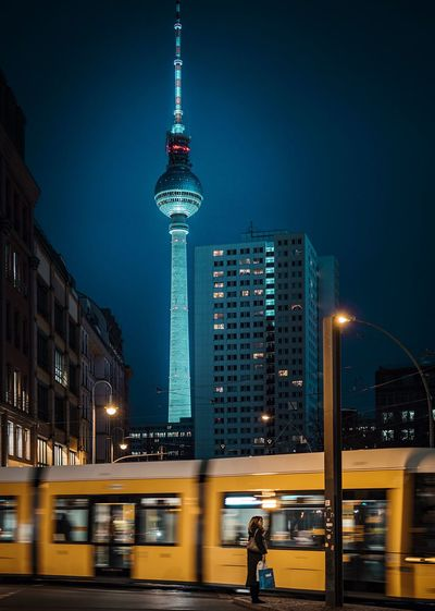 Friday evening. Street Photography Straßenbahn Tv Tower Berlin Tram Architecture City Building Exterior Built Structure Night Tall - High Illuminated Public Transportation Mode Of Transport Cityscape Sky Modern Travel Destinations Travel Transportation Urban Skyline