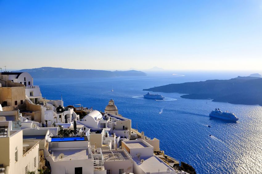 santorini grecia Grecia Santorini, Greece Architecture Beauty In Nature Blue Building Exterior Built Structure Clear Sky Day High Angle View Horizon Over Water Mountain Nature Nautical Vessel No People Outdoors Scenics Sea Sky Tranquility Transportation Turismo Isla Water Whitewashed